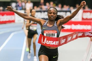 Convincing 3000m victory for Hellen Obiri at the IAAF World Indoor Tour meeting in Boston (Victah Sailer)