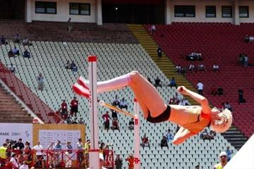 Ariane Friedrich jumping at the 2009 World University Games (Hans van Kuijen)