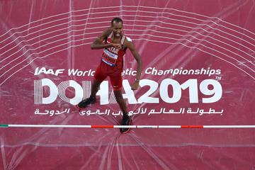 Mutaz Barshim after successfully defending his world title at the IAAF World Championships Doha 2019 (Getty Images)