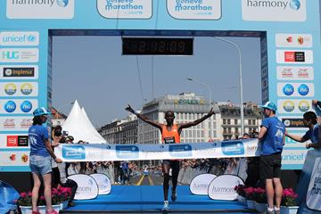 William Yegon winning the Harmony Geneva Marathon (Organisers)