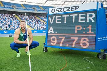 Johannes Vetter with his German record figures in Silesia (AFP / Getty Images)