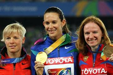 (L-R) Silver medalist Martina Strutz of Germany, gold medalist Fabiana Murer of Brazil and bronze medalist Svetlana Feofanova of Russia celebrate on the podium with their medals for the women's pole vault  (Getty Images)