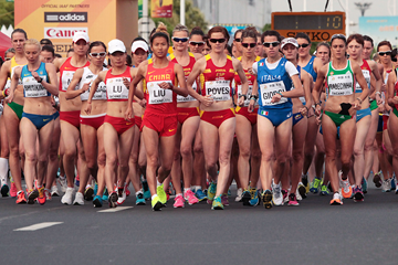 The women's race gets under way at the IAAF World Race Walking Cup Taicang 2014 (Getty Images)