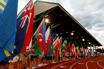 Flag bearers at the IAAF World Junior Championships Oregon 2014 (Getty Images)
