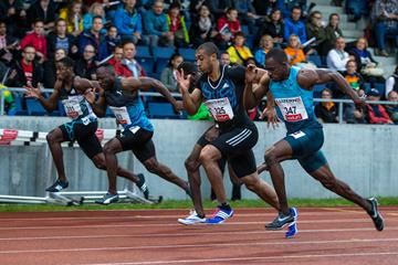 Jimmy Vicaut (325) in the 100m at the 2016 Spitzenleichtathletikmeeting in Lucerne  (Hanspeter Roos / organisers)
