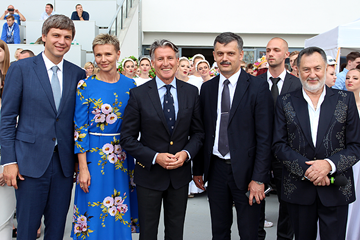 Belarusian Athletics Federation President Vadim Devyatovskiy, 2004 Olympic 100m champion Yulia Nestsiarenka, IAAF President Sebastian Coe, Minister of Sport and Tourism of the Republic of Belarus Sergey Kovalchuk and singer Leanid Yarmolenka in Minsk (Vladimir Nesterovich)