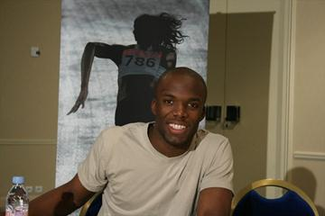LaShawn Merritt meeting with the media on the eve of the 2008 World Athletics Gala (Bob Ramsak)