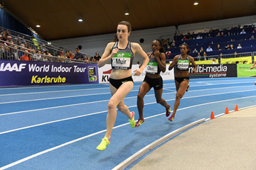 Laura Muir on her way to winning the 3000m at the IAAF World Indoor Tour meeting in Karlsruhe (Jiro Mochizuki)