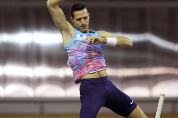 Pole vault winner Konstadinos Filippidis at the IAAF World Indoor Tour meeting in Madrid (Jean-Pierre Durand)