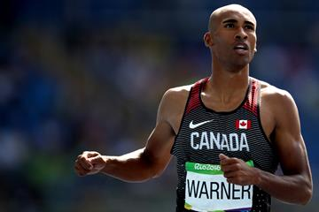 Damian Warner in the decathlon 110m hurdles at the Rio 2016 Olympic Games (Getty Images)