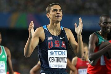 Matthew Centrowitz of the USA celebrates his bronze medal in the men's 1500 metres final  (Getty Images)