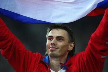 Yaroslav Rybakov of Russia celebrates winning the gold medal in the men's High Jump (Getty Images)