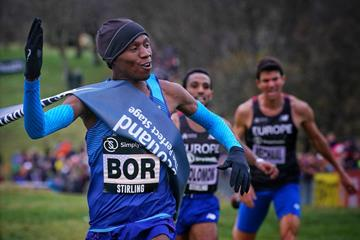 Hillary Bor wins the men's race at the Great Stirling X-Country (Great Run / Steve Ashworth)