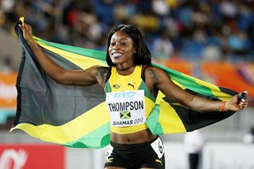 Elaine Thompson of Jamaica at the IAAF/BTC World Relays Bahamas 2017 (Getty Images)