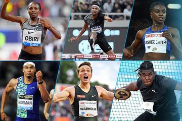 Hellen Obiri, Abderrahman Samba, Dina Asher-Smith, Michael Norman, Karsten Warholm and Fedrick Dacres in IAAF Diamond League action (IAAF)
