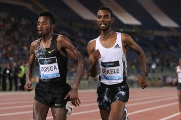 Selemon Barega and Telahun Bekele in the 5000m at the IAAF Diamond League meeting in Rome (Jean-Pierre Durand)