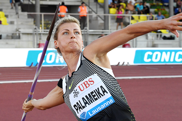 Madara Palameika in the javelin at the IAAF Diamond League meeting in Lausanne (Gladys Chai von der Laage)