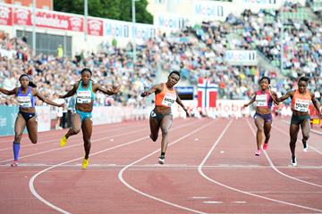 Murielle Ahoure wins the 100m at the IAAF Diamond League meeting in Oslo (Mark Shearman)