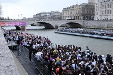 Participants in a 3k run during the 'She Runs - Active Girls' Lead' event in Paris (Michelle Sammet)