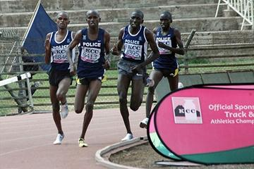 The powerful Kenya Police team of (left to right) Gideon Ngatuny , Sammy Kitwara (winner), Moses Masai and Bernard Kipyego destroy the opposition in the 10,000m race at the New KCC/ Athletics Kenya National Championships in Nairobi. (Chris Omollo)