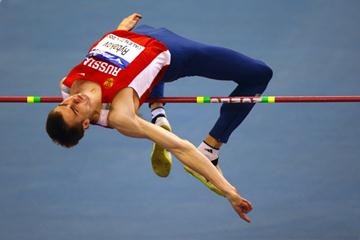 Russia's Yaroslav Rybakov in the men's high jump qualifying (Getty Images)