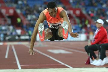 Cuba's Juan Miguel Echevarria in action in the long jump ( Pavel Lebeda / organisers)