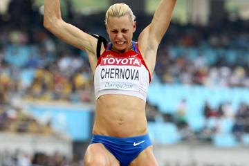Tatyana Chernova of Russia competes in the long jump in the women's heptathlon  (Getty Images)