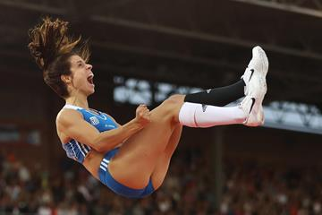 Ekaterini Stefanidi of Greece wins the European pole vault title in Amsterdam (Getty Images)