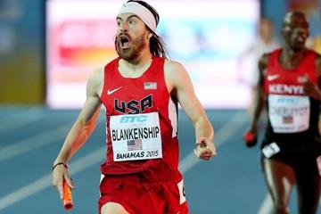 Ben Blankenship anchors the USA to victory in the distance medley at the IAAF/BTC World Relays, Bahamas 2015 (Getty Images)