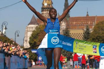 Sheila Jerotich wins the Kosice Peace Marathon (Organisers)