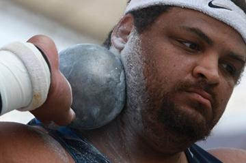 Reese Hoffa of the US in the Shot Put Qualification round (Getty Images)