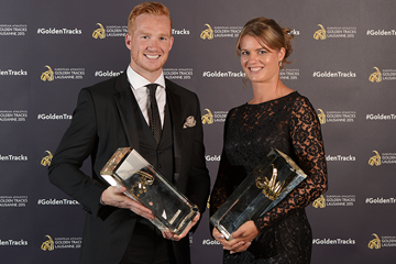 Greg Rutherford and Dafne Schippers, winners of the 2015 European athlete of the year awards (Getty Images)