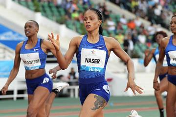 Salwa Eid Naser on her way to winning the 400m at the IAAF Diamond League meeting in Rabat (Kirby Lee)