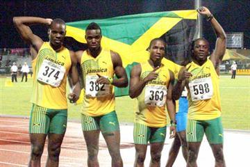 Jamaica's victorious CAC Champs 4x100m Relay quartet in Mayaguez (Fernando Neris)