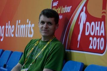 Blogger Parker Morse in Doha (IAAF.org)