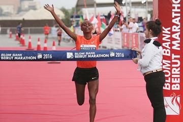 Tigist Girma wins the Beirut Marathon (Organisers)