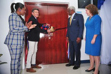 Minister of Youth Sport and Culture Lanisha Rolle, World Athletics President Sebastian Coe, NACAC President Mike Sands and British High Commissioner to The Bahamas Sarah Dickson at the inauguration of the NACAC headquarters in Nassau (Kermit Taylor)