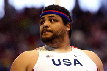 Reese Hoffa led the qualifying round of the men's shot at the IAAF World Indoor Championships (Getty Images)
