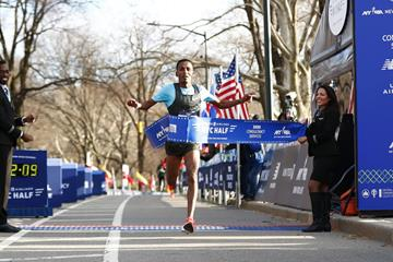 Belay Tilahun takes a surprise victory at the New York City Half (Organisers)