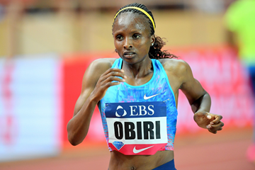 Hellen Obiri on her way to winning the 3000m at the IAAF Diamond League meeting in Monaco (Jiro Mochizuki)