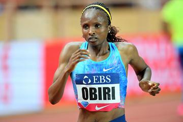 Hellen Obiri on her way to winning the 3000m at the IAAF Diamond League meeting in Monaco (Jiro Mochizuki)