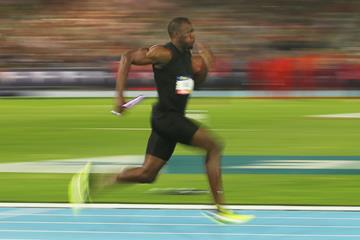 Usain Bolt in the mixed 4x100m relay at the Nitro Athletics series opener in Melbourne (Getty Images)