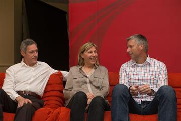 Allan Wells, Marita Koch and Volker Beck speak to the press in Monaco (Philippe Fitte)