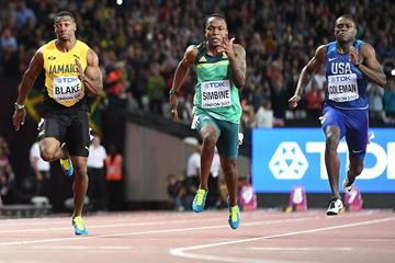Yohan Blake, Akani Simbine and Christian Coleman in the 100m at the IAAF World Championships (AFP / Getty Images)
