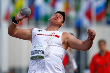 Konrad Bukowiecki in the shot at the IAAF World Junior Championships, Oregon 2014 (Getty Images)