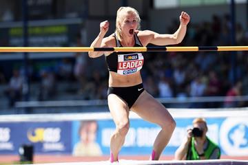 Verena Preiner after her high jump PB in Ratingen (Gladys Chai von der Laage)