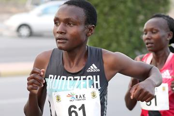 Joyciline Jepkosgei in action at the RAK Half Marathon (Organisers / Victah Sailer)
