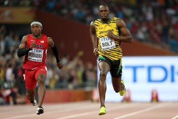 Usain Bolt in the 100m heats at the IAAF World Championships, Beijing 2015 (Getty Images)