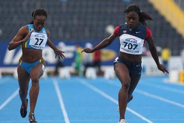 Jeneba Tarmoh of USA crosses the line to take victory in tne 100m final (Getty Images)