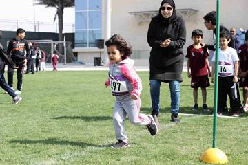The next generation of Qatar's sprinters in training at an IAAF Kids Athletics event in Doha (Doha 2019 LOC)